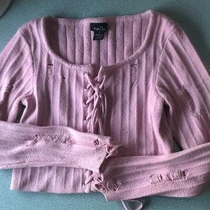 Pink long sleeve crop top